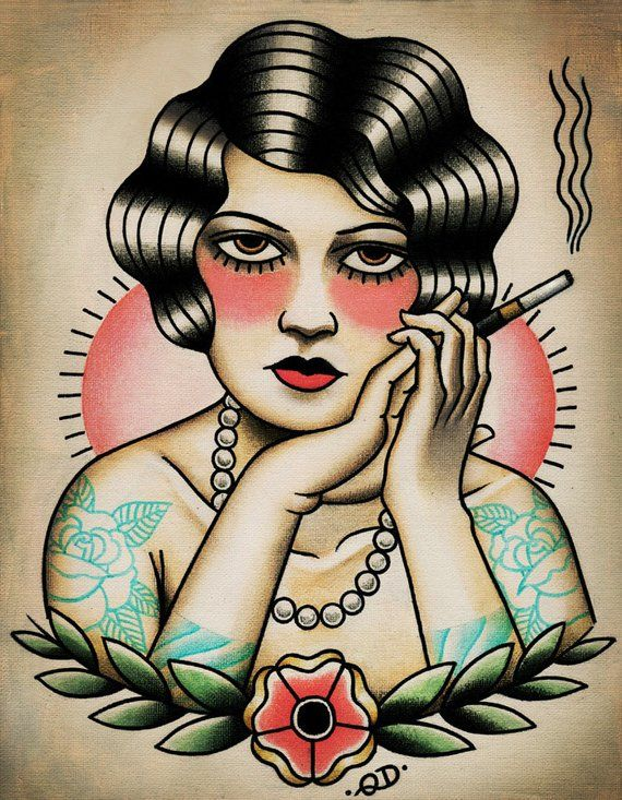 345f9c8b6 Smoking Flapper Art Print Traditional Tattoo Girls, American Traditional, Tattoo  Traditional, Traditional Flash