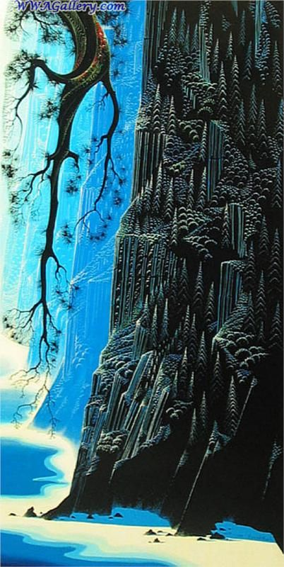 Cliffs Ascending - Eyvind Earle - WikiPaintings.org