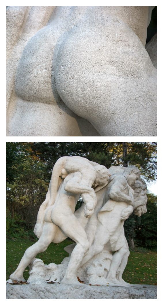 September 2017 - Fesses of the Month - This sculptural group by Edmond Desca stands in the Parc Montsouris.  Carved in stone in 1915, it portrays three men carrying a dead lion, the weight of which forces them to exert considerable effort. One of the men displays an admirable set of buns, the depiction of which could be the real reason the artist created this sculpture.  http://q25749.questionwritertracker.com/