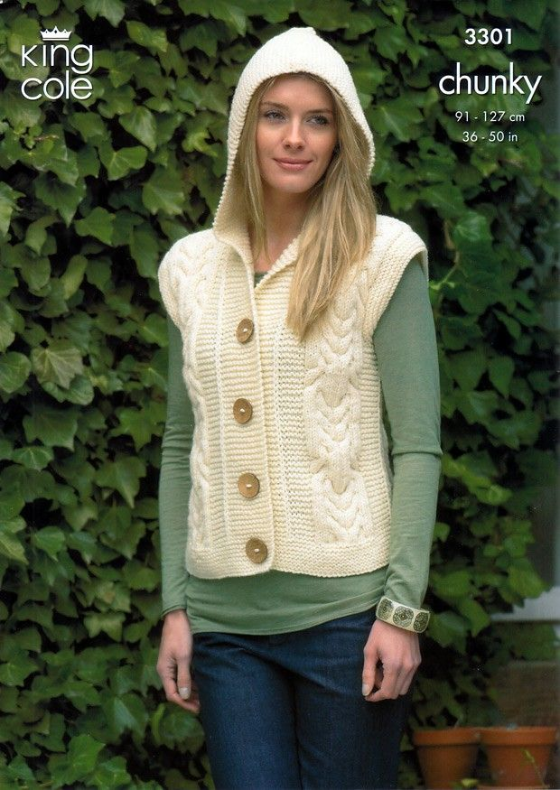 King Cole Ladies Jacket Gilet Merino Chunky Knitting Pattern 3301