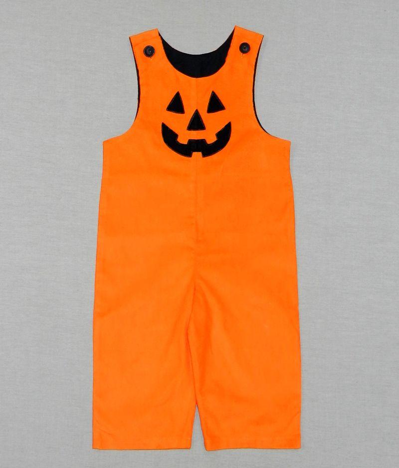 Boys' orange corduroy longall with pumpkin face. $32. On sale now at www.facebook.com/jdoriginals