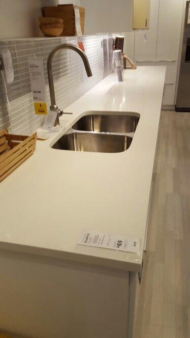 Quartz Counter Pure White Ikea Zhome Kitchen