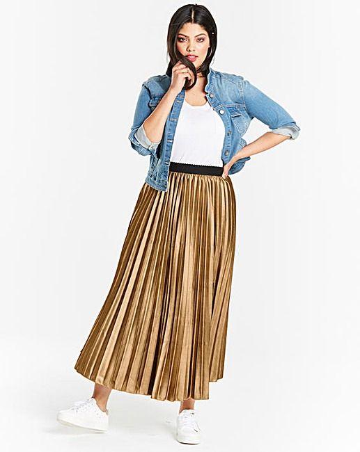 ad95432edcac3f Metallic Sunray Pleat Midi Skirt | Simply Be | On The Plus Side ...
