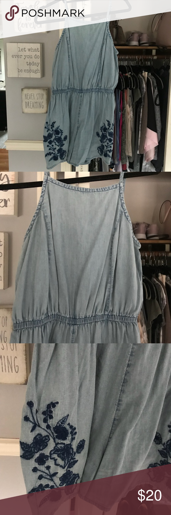 c94d444ca92 Denim floral romper So cute and in great condition. Denim soft romper with  flora accents. Stretchy and comfortable Mossimo Supply Co Pants Jumpsuits    ...