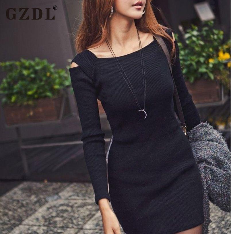 Gzdl sexy lente herfst dress vrouwen uit schouder lange gebreide casual bodycon potlood party jurken mini vestidos cl1114