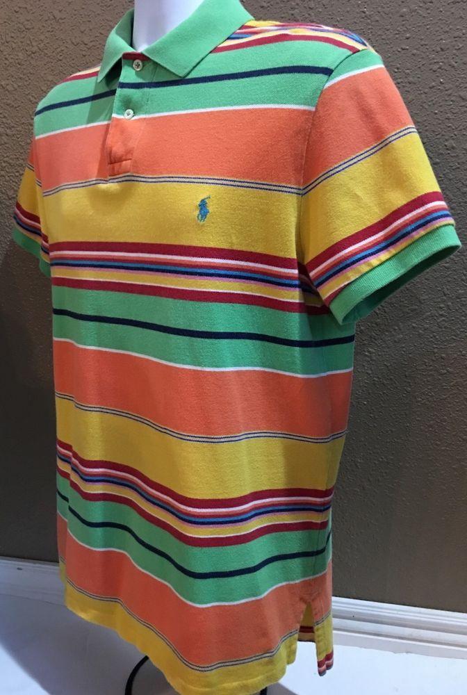 Polo By Ralph Lauren Polo Shirt 100 Cotton Striped Multi Color Large Ralph Lauren Polo Shirts Polo Ralph Lauren Stylish Mens Fashion