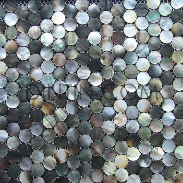 Penny Round Black Lip Mother Of Pearl Mosaic Tiles Tops