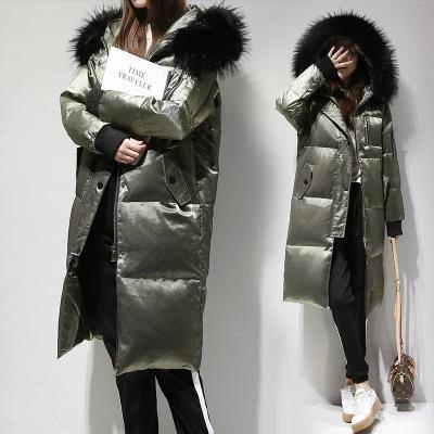 Women Winter Jacket Fur Collar Duck Down Coat Hooded Slim Long Parka Outwear