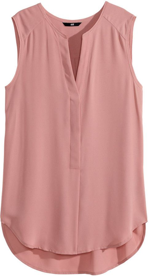 7c1c39671e277d H&M - Sleeveless Blouse - Dusty rose - Ladies on shopstyle.com ...