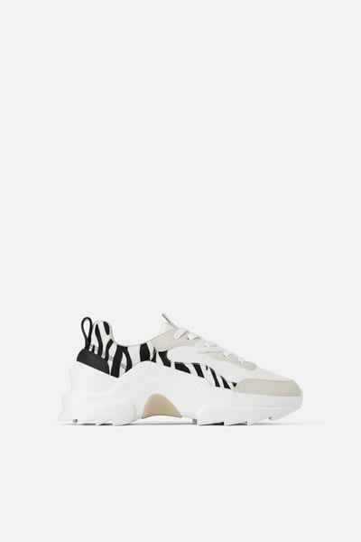 women white trainer lace up tennis leisure shoe zebra print chunky sole