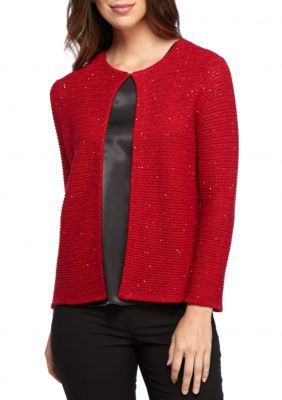 Kasper Fire Red Multi Sequin Cardigan Sweater | Products
