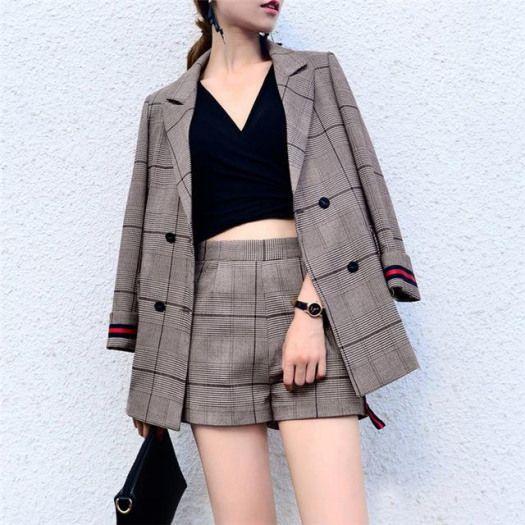 Office Lady Suits For Women Spring Short Pant Suits Women Plaid Pantsuit With Jacket Business Suit