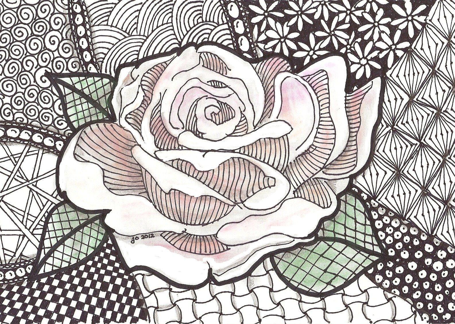 Rose Zentangle In Process Zentangle Mandalas Ink Drawings 3