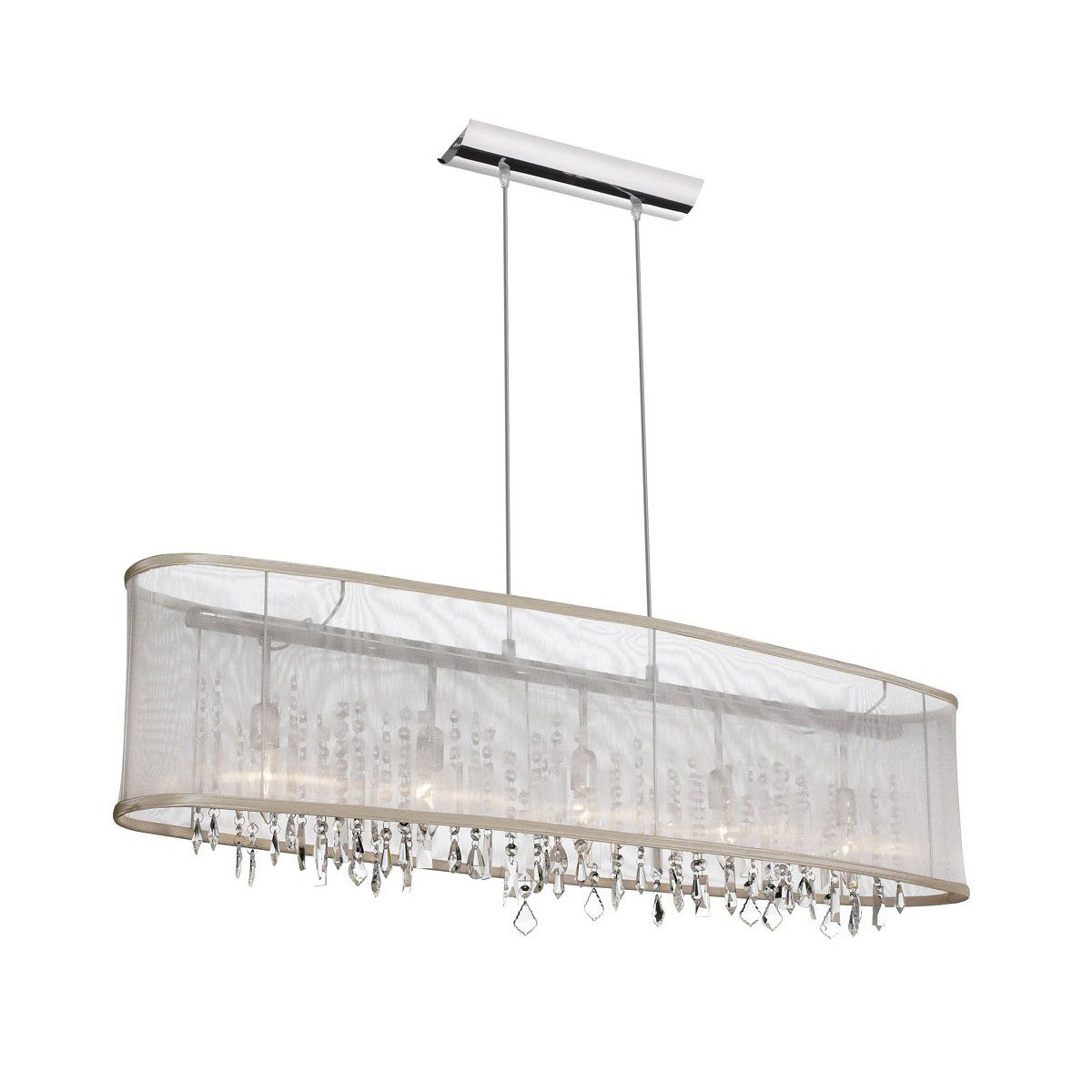 Rectangular organza shade crystal chandelier home design ideas dainolite 85303a 46 117 5 light crystal island pendant with organza aloadofball