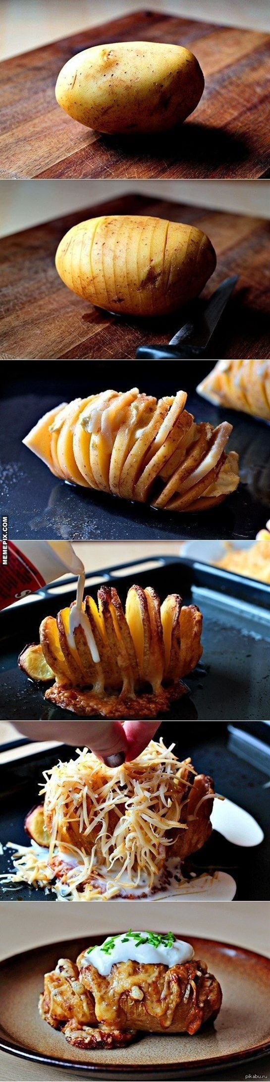 The perfect baked potato. use a spoon or knife beside potato to keep you from cutting all the way through -put in baking dish and fan out slices -sprinkle with salt and drizzle with butter, sprinkle with herbs -bake at 425 for about 50 minutes -remove from oven and sprinkle with cheeses (whatever you want) -bake for another 10-15 minutes until cheese are melted and potatoes are soft inside