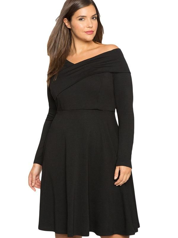 Milanoo Milanoo Black Plus Size Dress Long Sleeve Womens