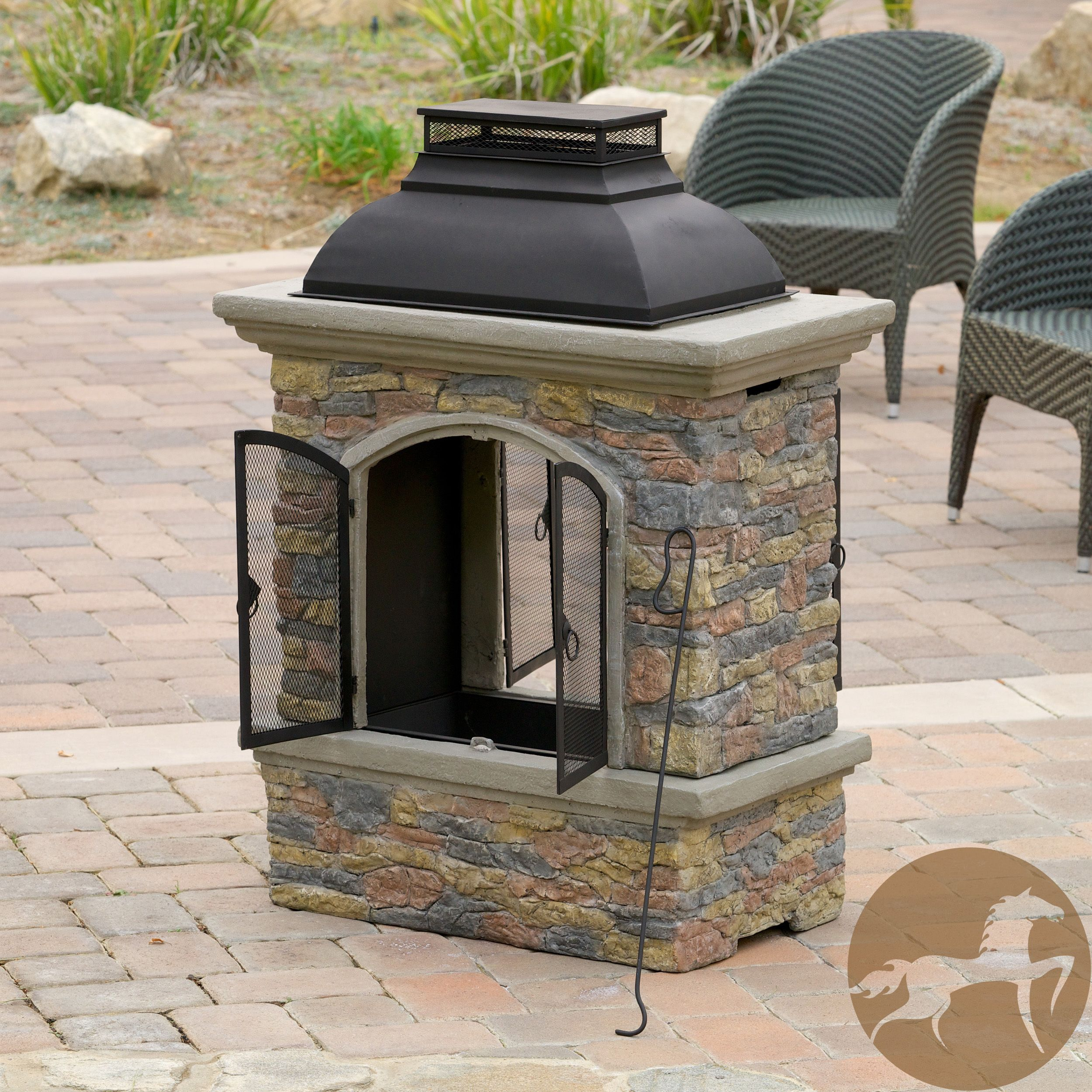 enjoy the outdoors with the luvan fireplace constructed with fiber
