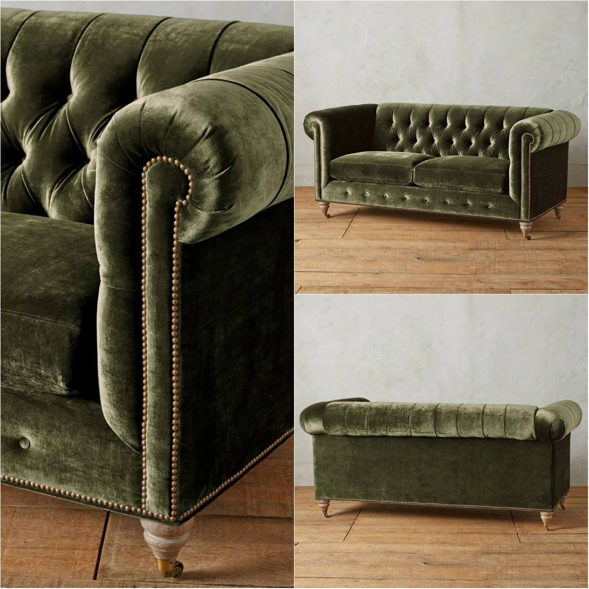 Chesterfield Sofa In Richly Hued Dark Green Velvet Upholstery