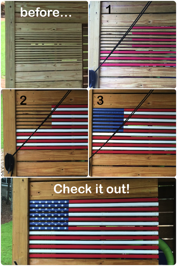 Painting an American Flag on Our Dock Closet American