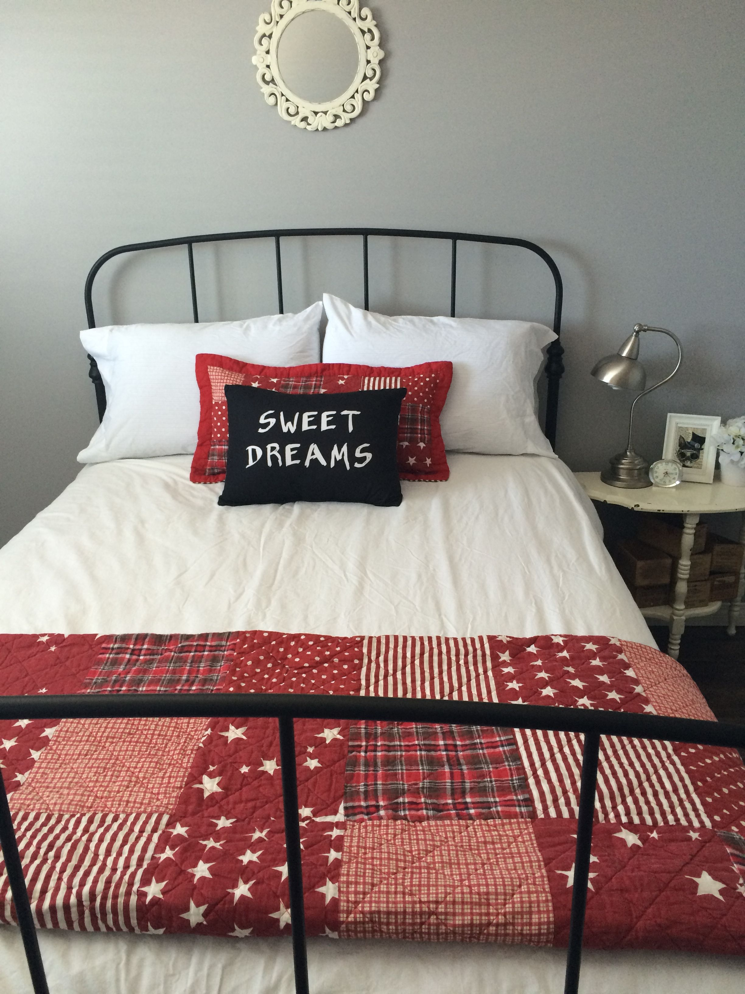Ikea Lillesand Bed Frame Black White Red Plaid Decor Guest Room Decor Plaid Decor Bed