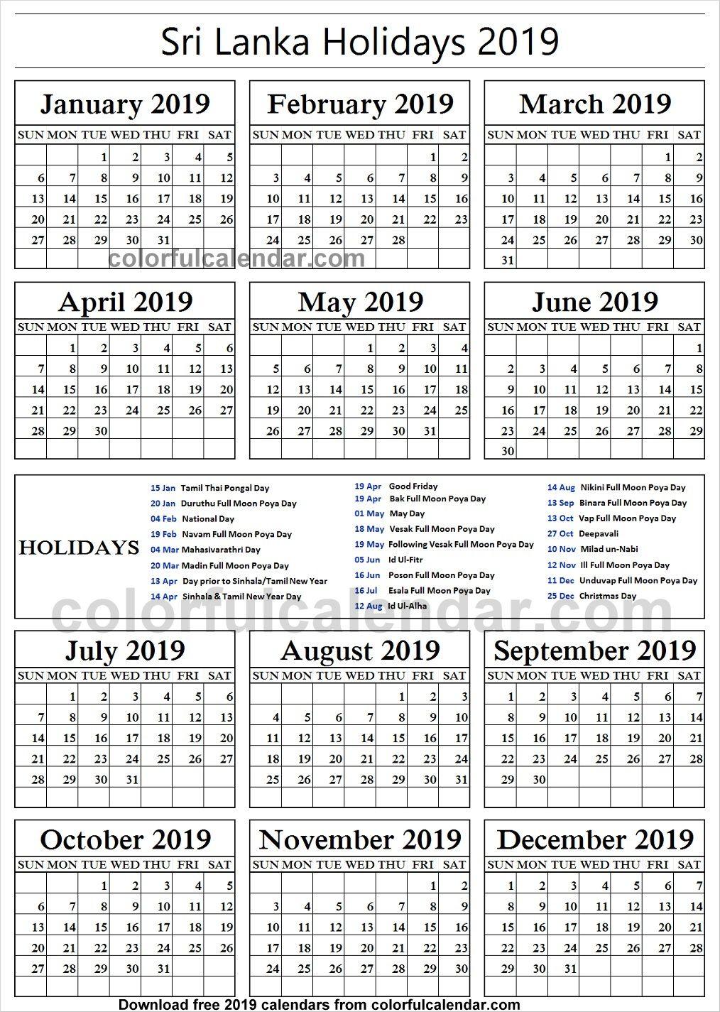 2019 School Holidays Sri Lanka Calendar Philippine Holidays