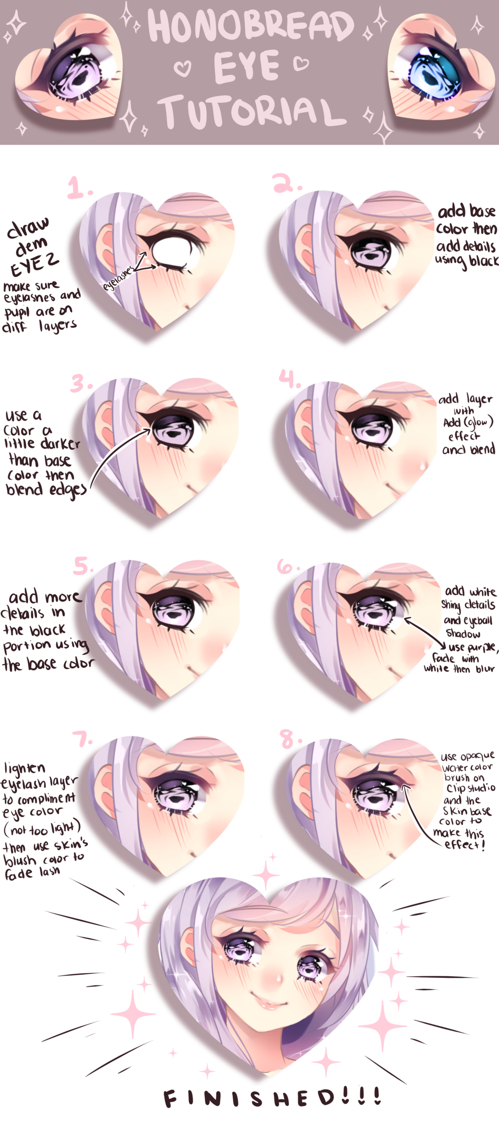 Shiny Eye Coloring Tutorial By Honobread On Deviantart Shiny Eyes Coloring Tutorial Clip Studio Paint Tutorial