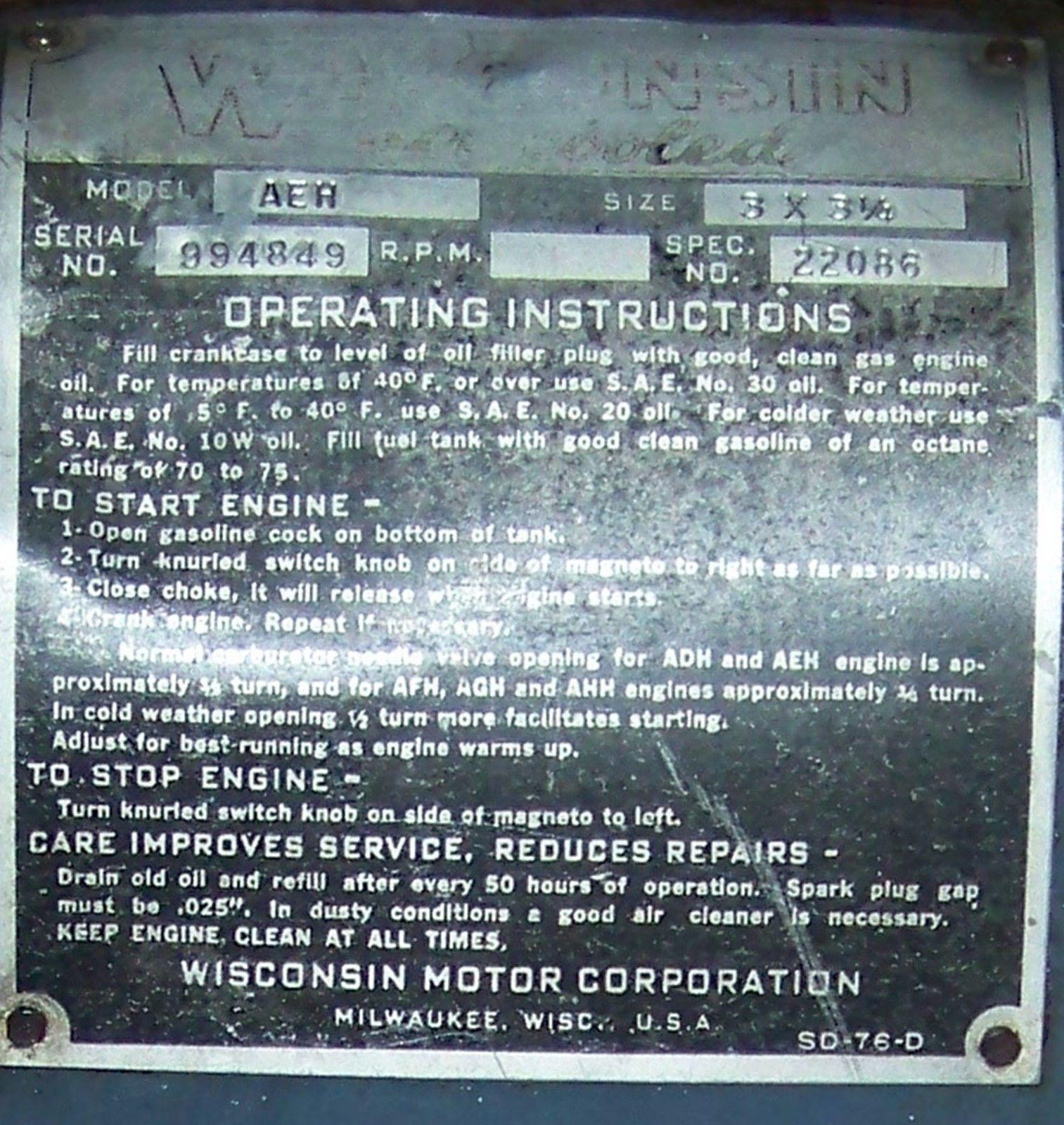 Vintage 6hp Gas Engine - Wisconsin Motor - 1940 U0026 39 S