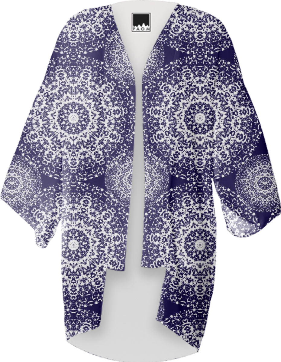 Navy blue And White Pretty Floral Lacy Patterned Summer Kimono ...