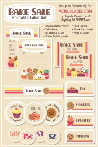 Free Bake Sale Printbles Includes Flyers Food Labels Pricing