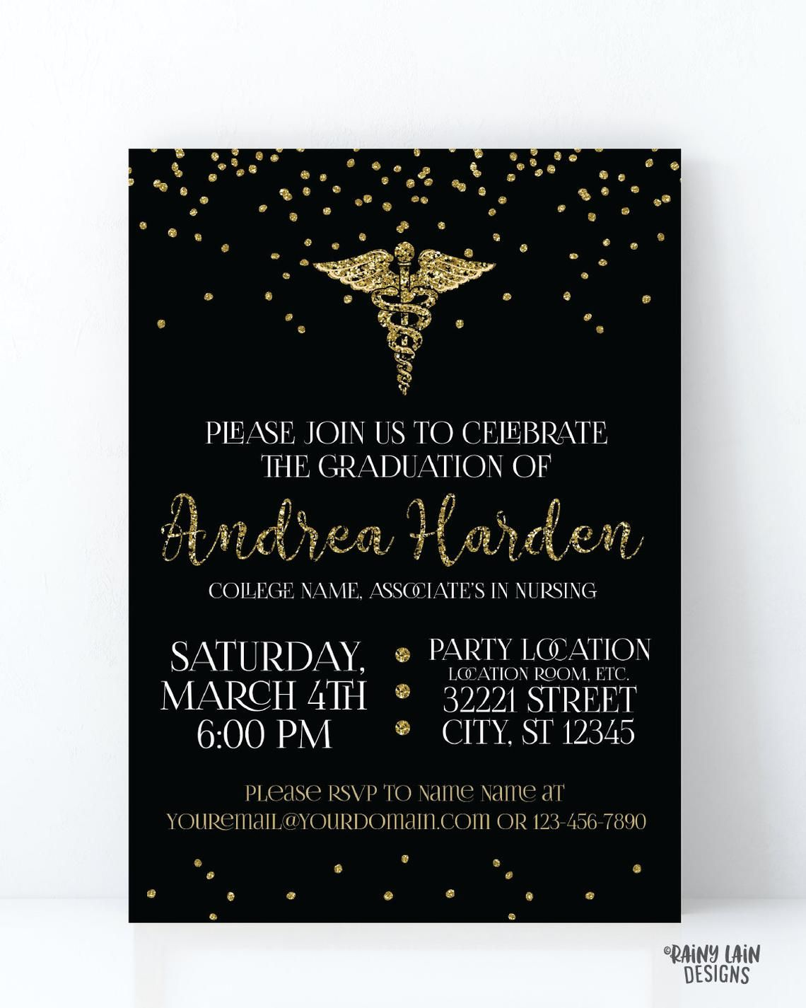 Black and Gold Nurse Graduation Invites, Nursing School Graduation Invitat…  | Graduation invitations, Graduation invitations template, Nursing graduation  invitation