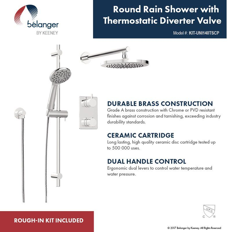 Thermostatic Complete Shower System With Rough In Valve Shower