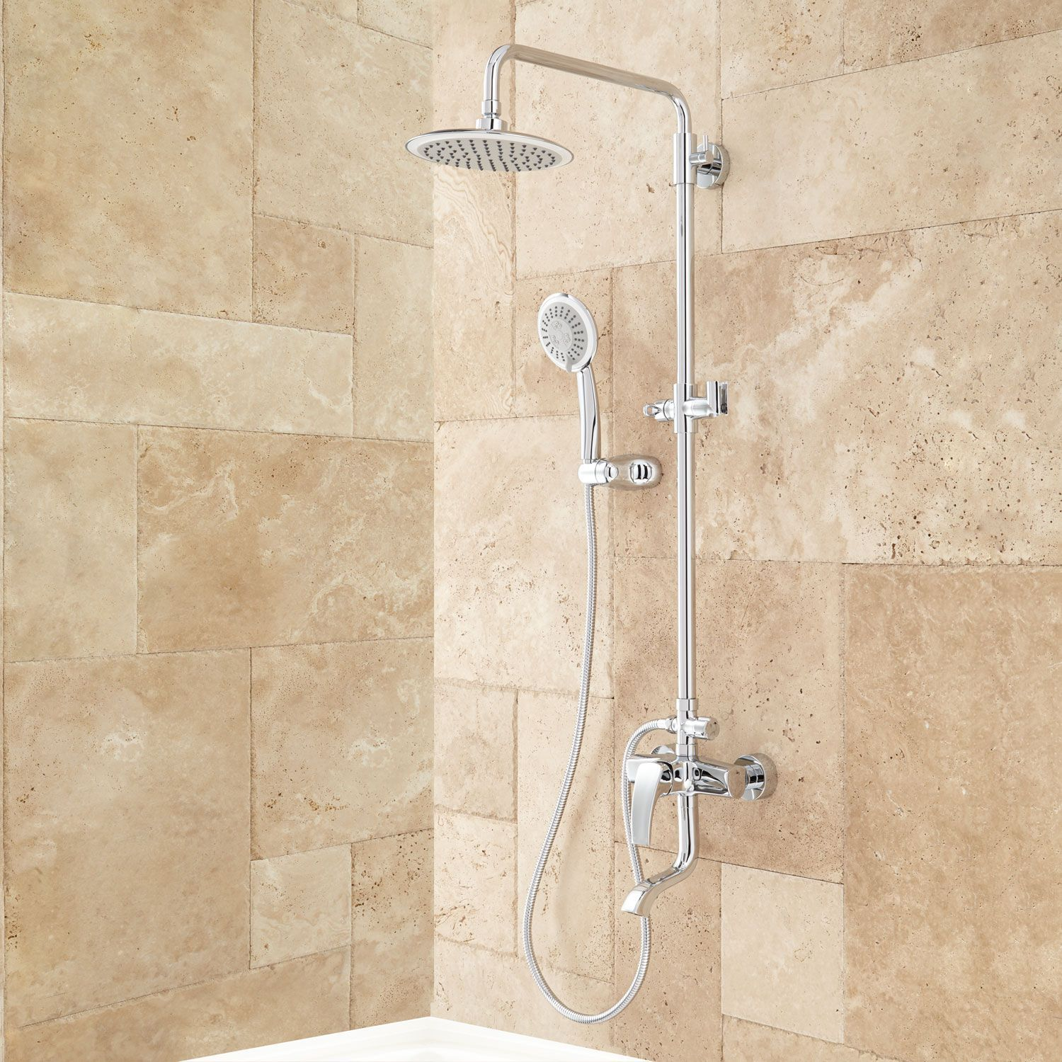 Exposed Pipe Shower System With Tub Faucet.Pin On Bath Project