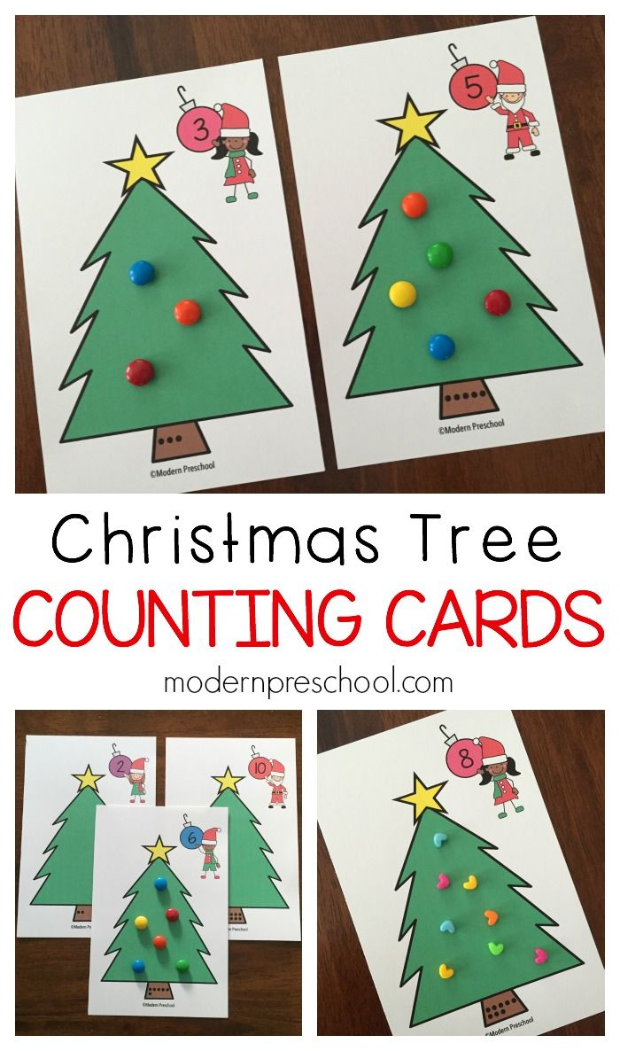 Christmas Tree Counting Number Cards Christmas math