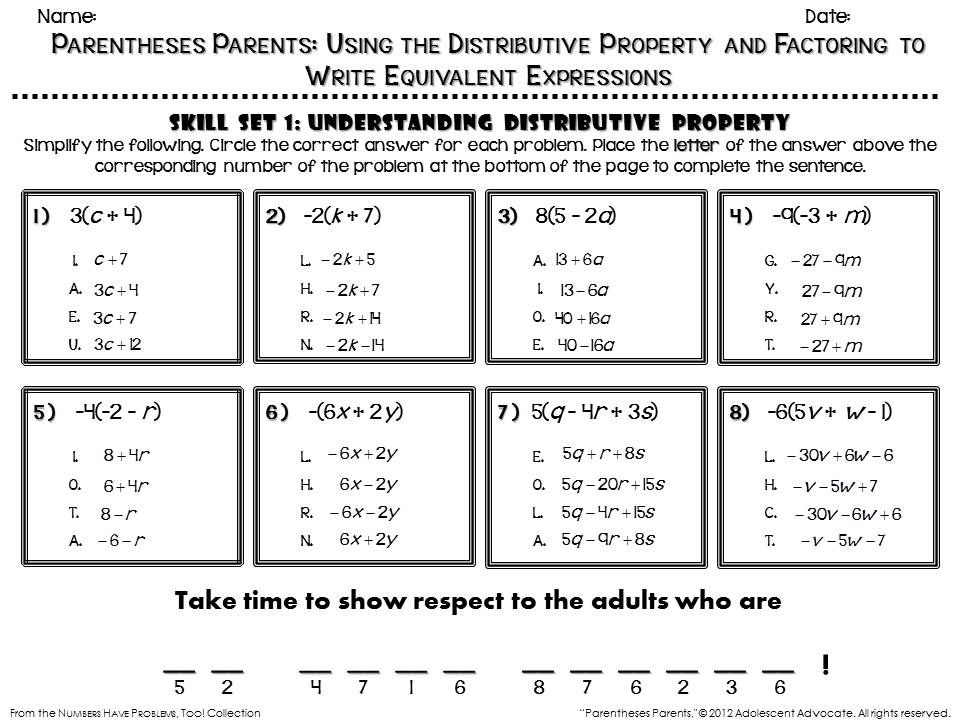 Fun Math Worksheet On Distributive Property See Numbers Have Problems Too Equivalent Expressions Algebra Worksheets Distributive Property