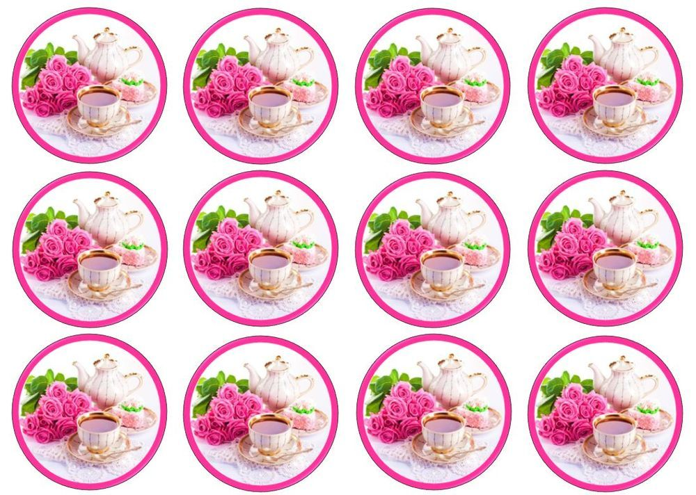 12 high tea coffee edible ricewafer paper cakecucake toppers