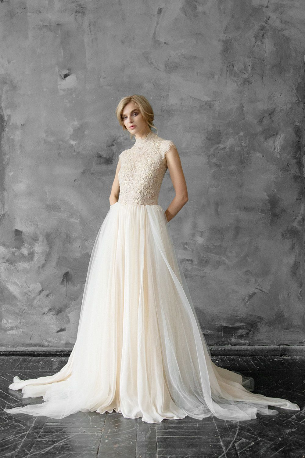 High neck lace embroidered Wedding gown Victorian style