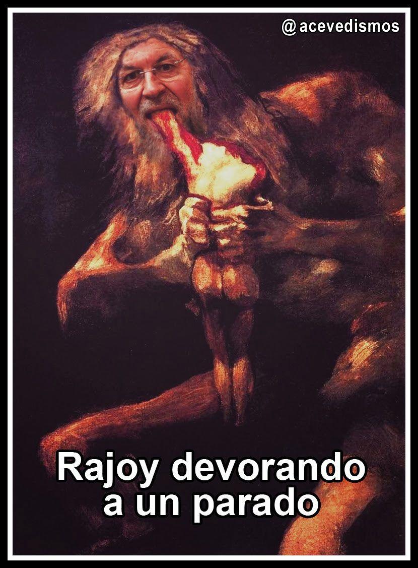 Rajoy devorando a un parado.