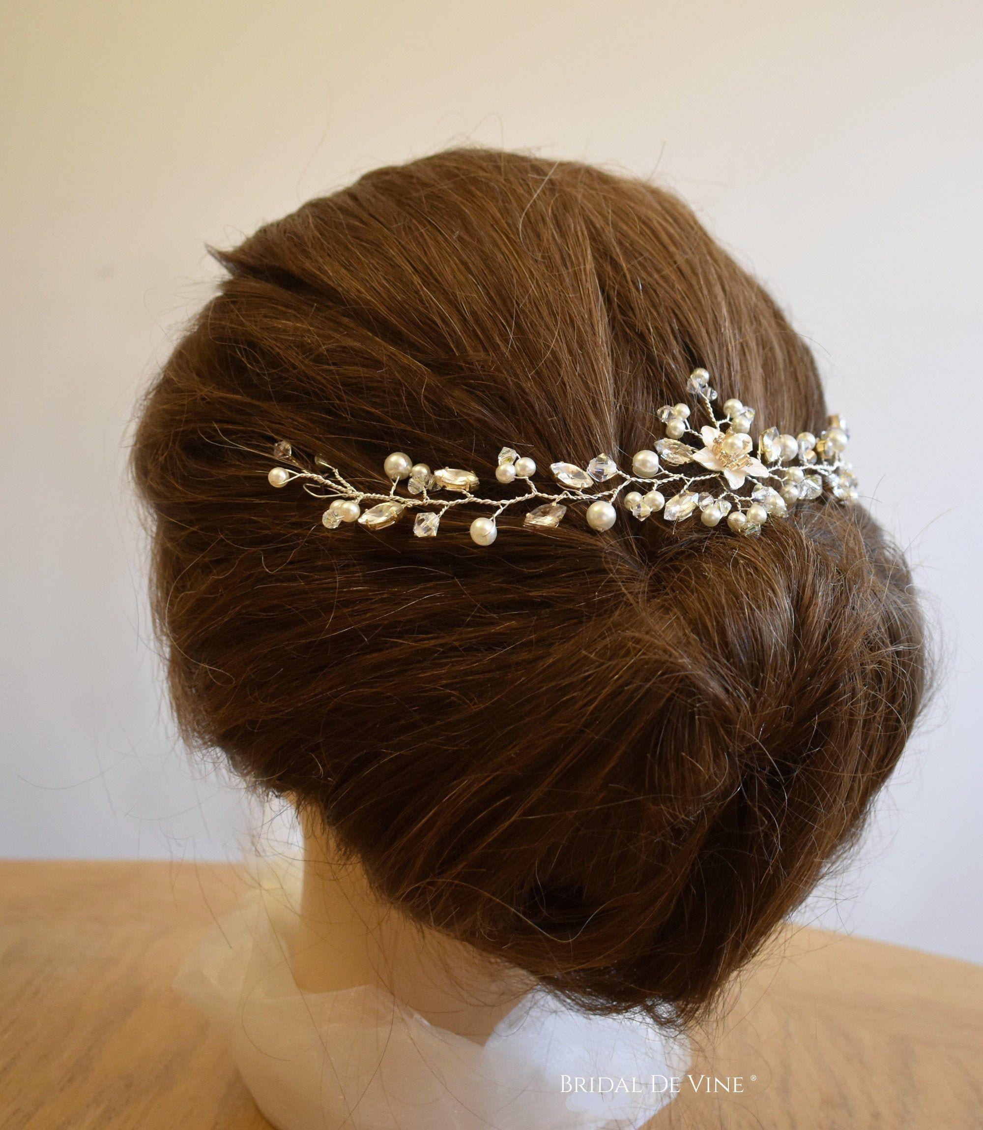 Silver crystal flower bridal headband Diamante accessory hair accessories wedding headpiece tiara