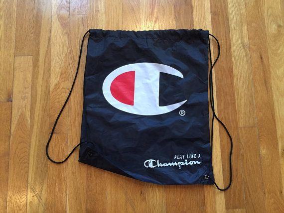 Vintage Champion drawstring cinch backpack bag sack sak napsak ... f25f4c7b3e964