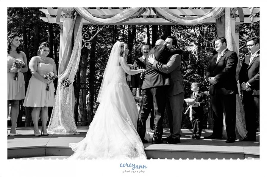 outdoor wedding ceremony sites in akron ohio%0A father giving away bride at wedding ceremony in olmsted falls