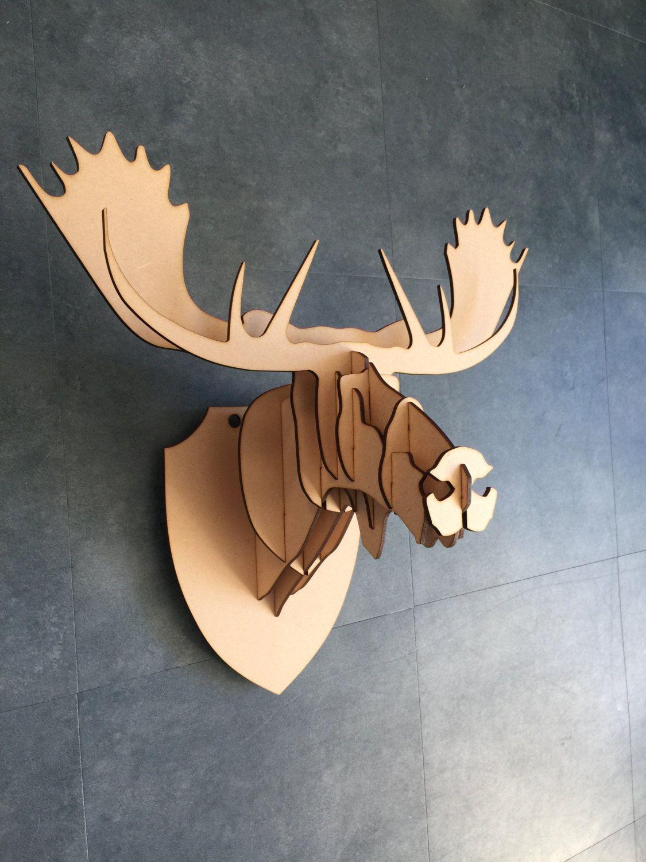 3d Wall Art Decor large/ small wooden moose head 3d wall art home decor - 3d laser