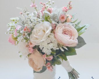 Pink And Cream Rustic Wedding Bouquet By Blueorchidcreations