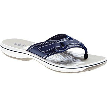 2e250af26b7da3 Clarks Women s Breeze Mila Sea Synthetic Flip Flop Sandal