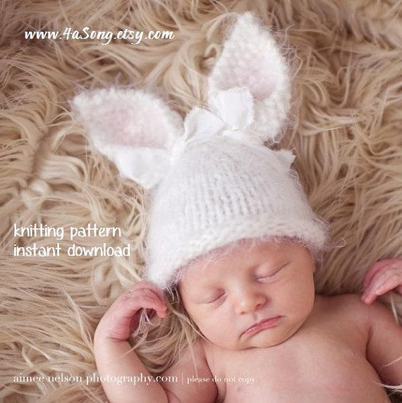 44f1cfcef Baby Bunny Hat Knitting Pattern PDF Number 124, INSTANT DOWNLOAD ...