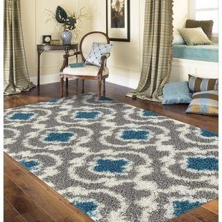 Cozy Moroccan Trellis Grey Turquoise Indoor Shag Area Rug 710 X 10 2525 Gray Size Polypropylene Chevron