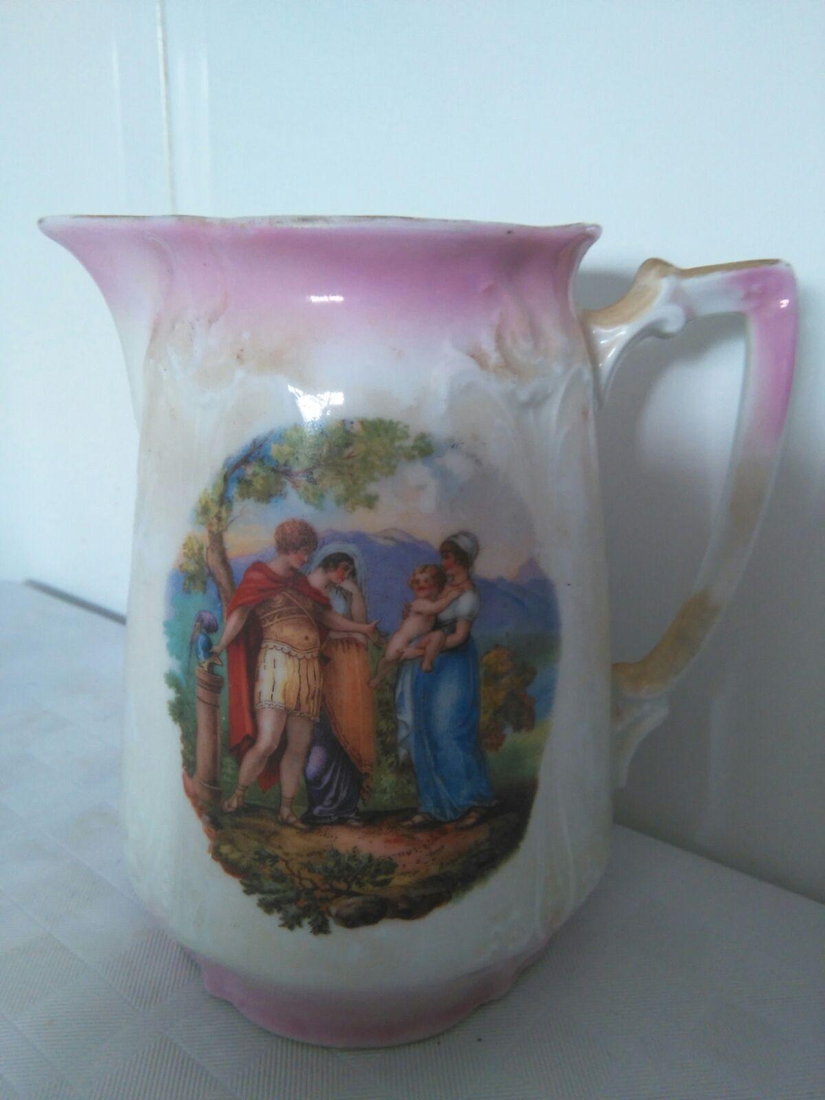 Preciosa Jarrita de porcelana vidriada en blanco.con paisaje pintado a mano.s.19. medidas 14cm precio 125€ Telefono 670794048, Maria