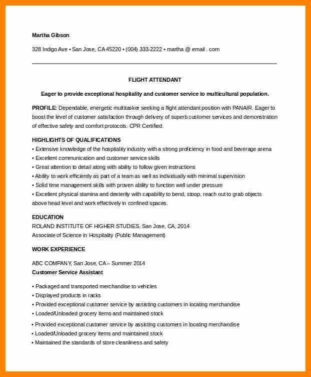 flight attendant resume no experience luxury 8 cv for