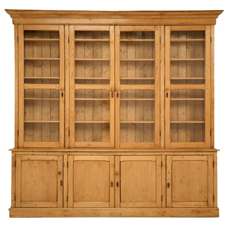 Original Unrestored Antique English Pine China Cabinet/Bookcase - Original Unrestored Antique English Pine China Cabinet/Bookcase