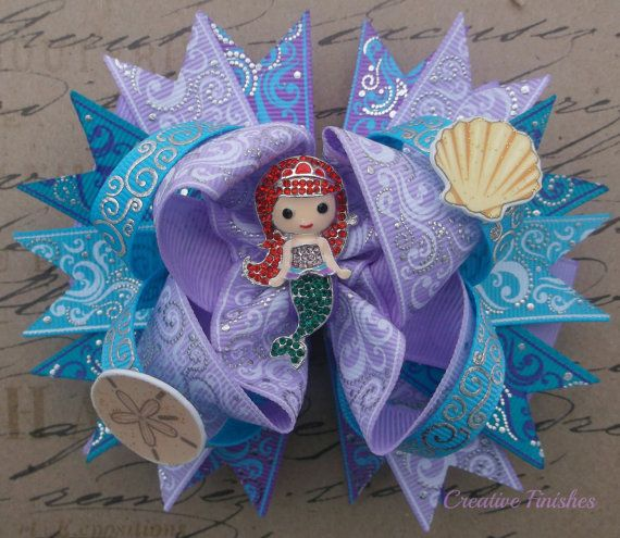 Ariel Hair Bow Little Mermaid Bow teal and purple