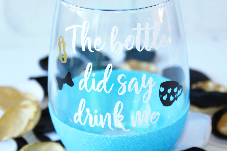 NEW DISNEY ALICE IN WONDERLAND SILHOUETTE GLITTER WINE GLASSES X 6